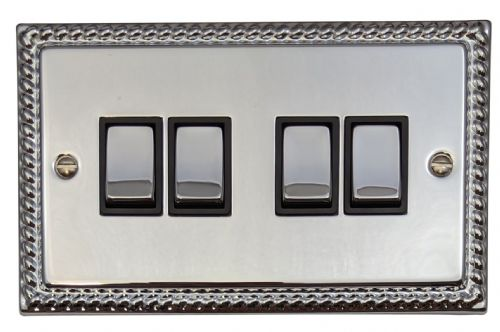 G&H MC304 Monarch Roped Polished Chrome 4 Gang 1 or 2 Way Rocker Light Switch